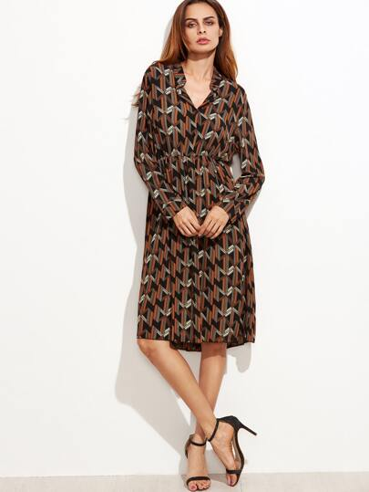 Geometric Print Elastic Waist Shirt Dress