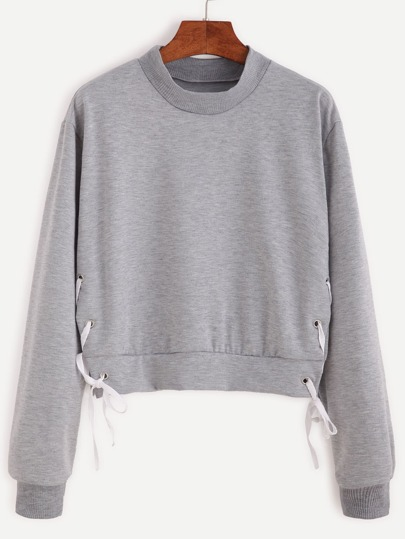 Grey Eyelet Tie-side Crop Sweatshirt