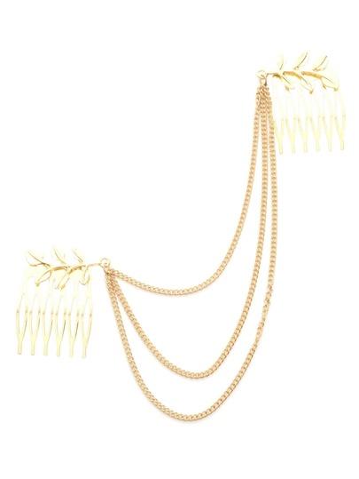 Accesoriso de pelo vueltas con cadena y peine - dorado