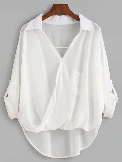 White Dip Hem Wrap Blouse