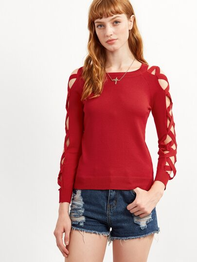 Red Lattice Sleeve Hollow Out Sweater