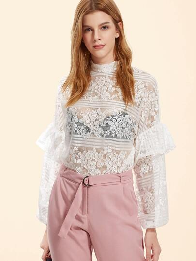 White High Neck Ruffle Trim Floral Lace Top