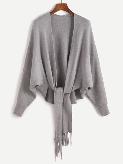 Batwing Sleeve Fringe Trim Dip Hem Cardigan Sweater