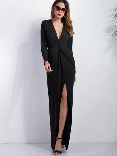Vestido maxi escote V profundo con abertura - negro
