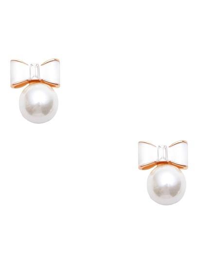 White Faux Pearl Bow Stud Earrings