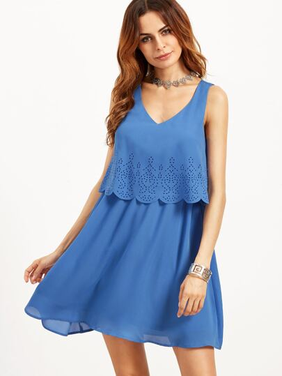 Blue Laser Cutout Layered Scallop Dress