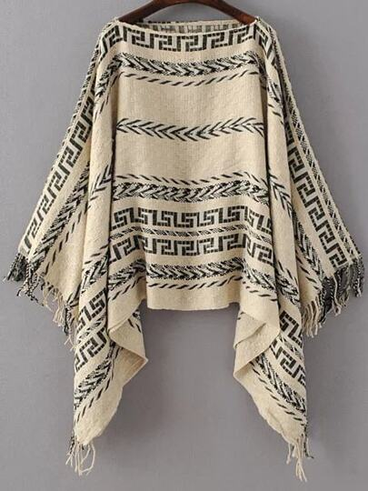 Khaki Tribal Pattern Boat Neck Fringe Poncho Sweater