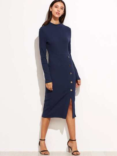 Navy Asymmetric Button Front Pencil Dress
