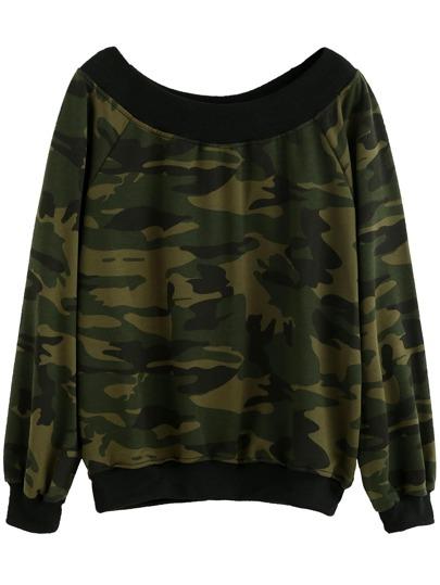 Camo Print Contrast Trim Sweatshirt