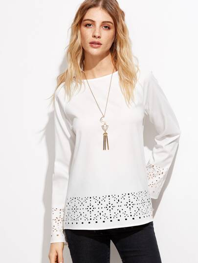 White Laser Cutout Raglan Sleeve Blouse