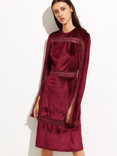 Burgundy Eyelet Crochet Insert Slit Cuff Velvet Dress