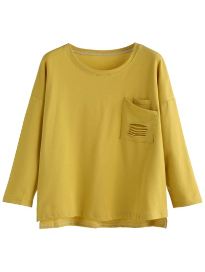 Olive Yellow Distressed Pocket High Low T-shirt