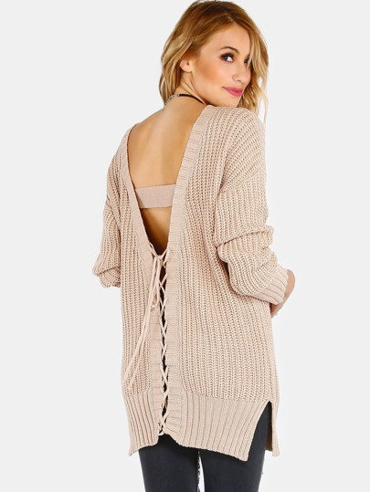 Plunging V Lace Up Back Knit Sweater CAMEL