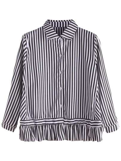 Vertical Striped Ruffle Hem Blouse