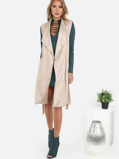 Suede Lapel Belted Vest TAUPE
