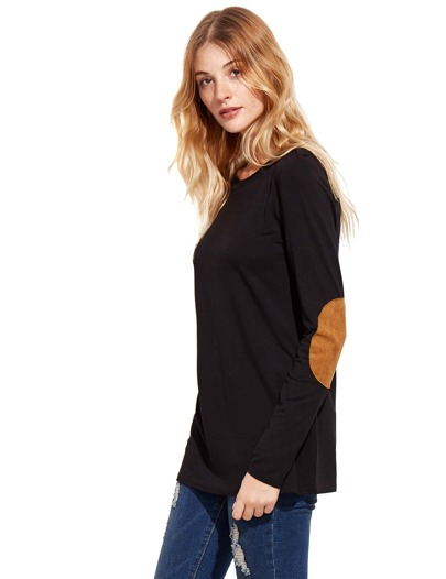 Black Long Sleeve Elbow Patch T-Shirt