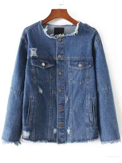 Blue Patch Back Frayed Asymmetrical Denim Jacket
