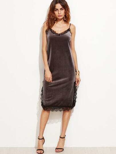 Grey Slit Side Eyelash Lace Trim Velvet Slip Dress