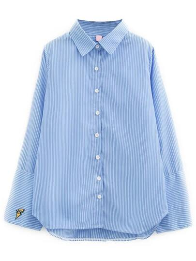 Blue Vertical Striped Sharp Collar Blouse