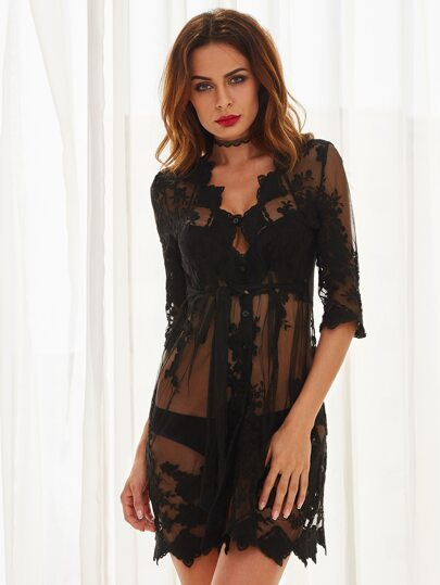 Black Lace Deep V Neck See-through Dress