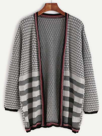 Black And White Mixed Knit Drop Shoulder Cardigan
