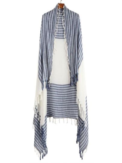 Blue Stripe Long Tassel Scarf
