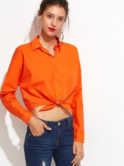 Orange Tie Front Crop Blouse
