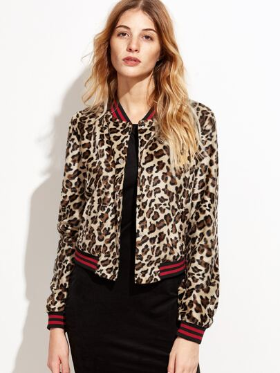 Leopard Striped Trim Hidden Buttons Jacket