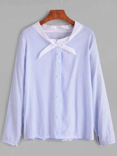 Blue Vertical Striped Contrast Collar Button Blouse