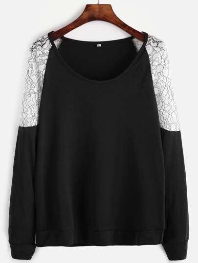 Black Contrast Lace Raglan Sleeve Sweatshirt