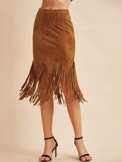Camel Faux Suede Fringe Trim Bodycon Skirt