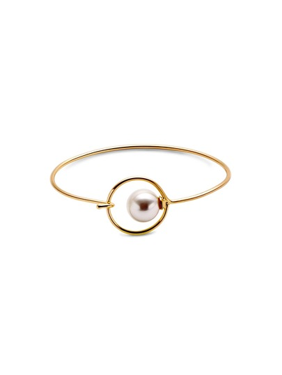 Gold Plated Faux Pearl Smooth Design Bangle