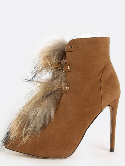 Pointy Toe Faux Fur Booties TAN