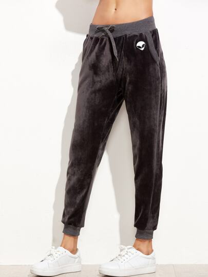 Grey Drawstring Velvet Pants With Alien Patch