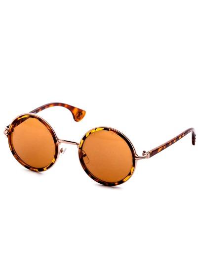 Brown Leopard Print Frame Round Lens Sunglasses