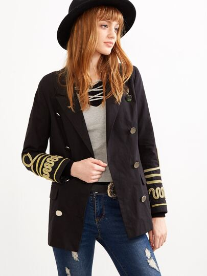 Black Double Breasted Sailor Blazer With Woven Tape Detail