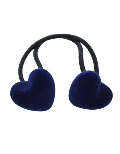 Blue Elastic Rope Heart Hair Band