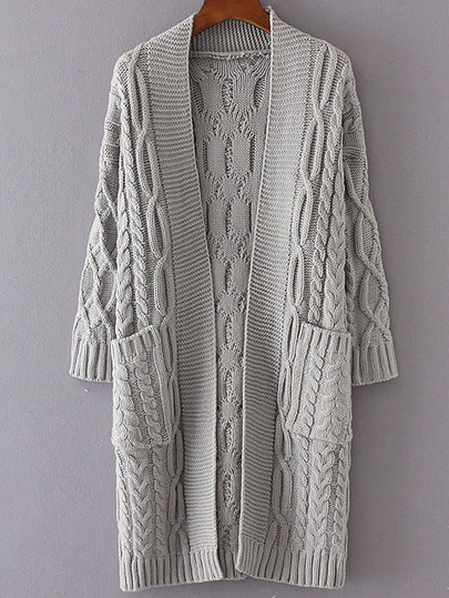 Grey Drop Shoulder Pocket Cable Knit Long Cardigan