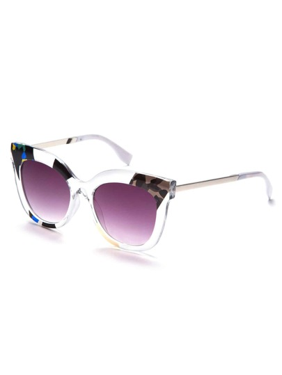 Clear Print Frame Purple Cat Eye Sunglasses