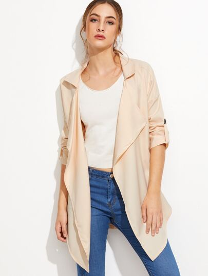 Apricot Roll Tab Sleeve Curved Hem Coat