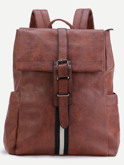 Brown PU Buckle Strap Flap Backpack