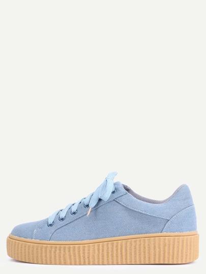 Zapatillas faux suede plataforma - azul claro