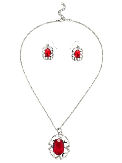 Red Gemstone Hollow Out Vintage Jewelry Set