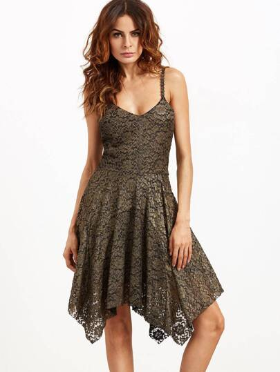 Gold Spaghetti Strap Lace Overlay Asymmetrical Dress