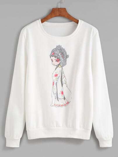 White Cartoon Print Sweatshirt