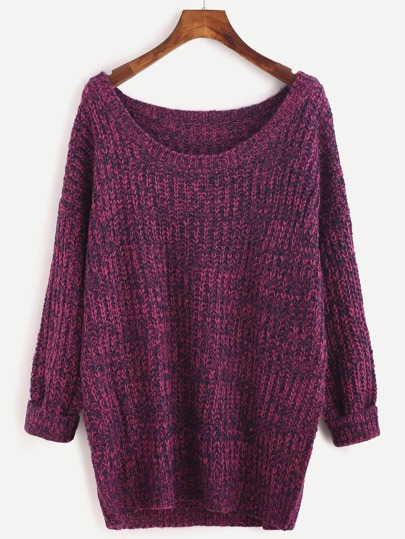 Pull col rond manche longue - rouge rose