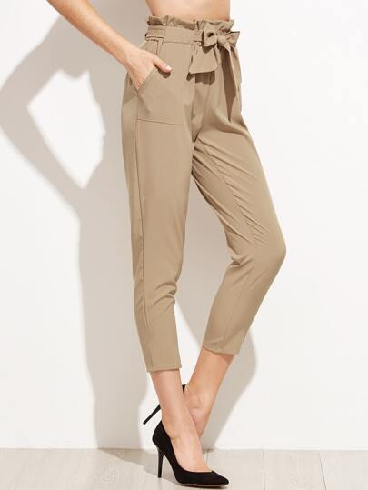 Khaki Tie Waist Ruffle Peg Pants