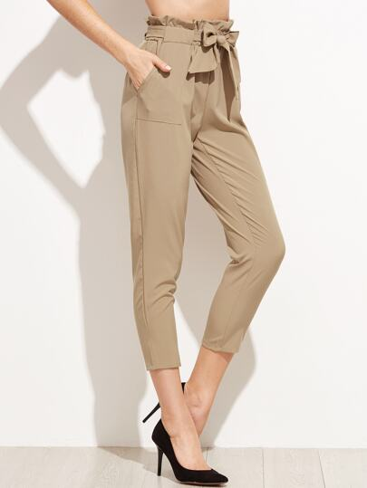 Pantalons taille plissée avec ceinture - kaki