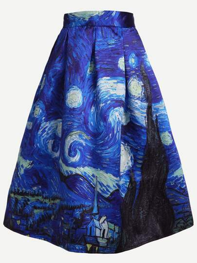 Oil Painting Print A-Line Skirt With Zipper