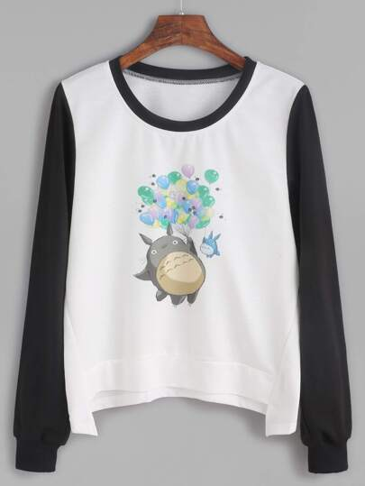 Cartoon Print Contrast Sleeve Asymmetric Sweatshirt